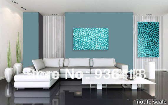 Turquoise Squares Painting Abstract Modern Acrylic Painting Wall Art  Decoration Textured White Living Room Decor Home Decor In Painting U0026  Calligraphy From ...