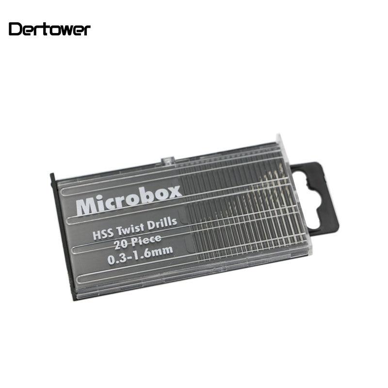 20Pcs Mini Drill Bit Set HSS Micro Twist Drill Bit Set 0.3mm-1.6mm Model Craft With Case Repair Tools Tiny Micro Twist Drill DT6