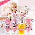 1 Pcs Bebê Crianças Straw Tipo Gatinho Garrafa De Água Copo de Treinamento Garrafa De Suco De Água de Impressão Dos Desenhos Animados Para Crianças Dom