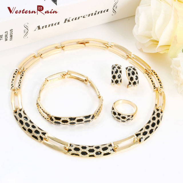 Charms Necklace Jewelry Set For Women Dubai Gold Color Plated Choker