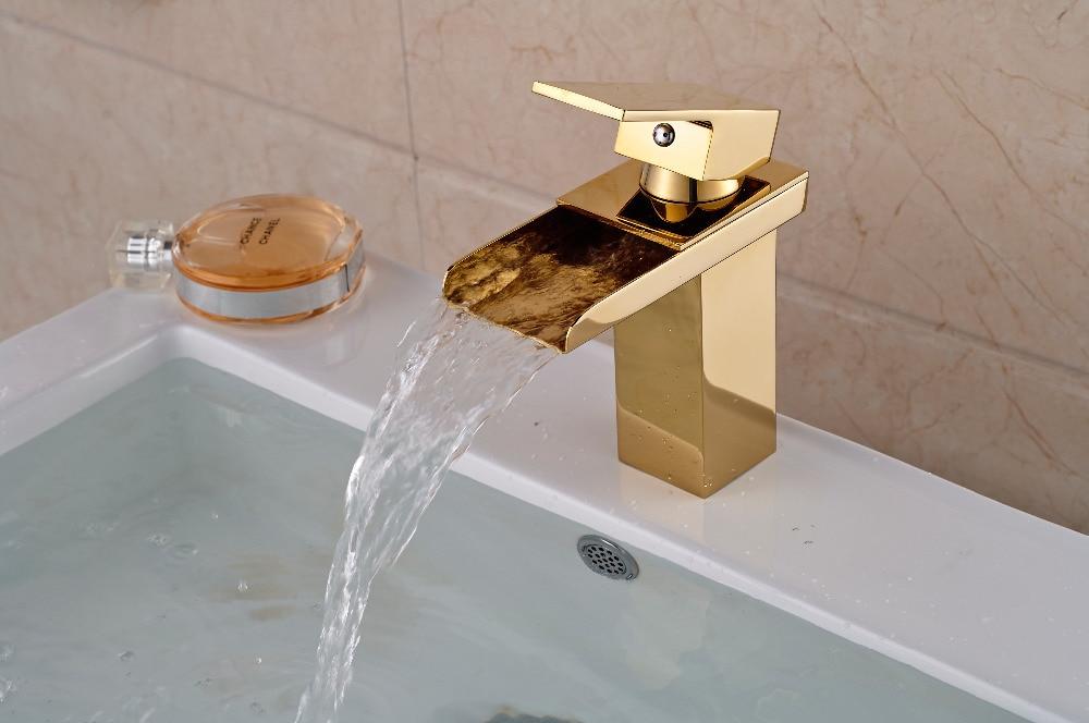 ФОТО Luxury Golden Brass Waterfall Bathroom Basin Faucet Square Vanity Sink Mixer Tap