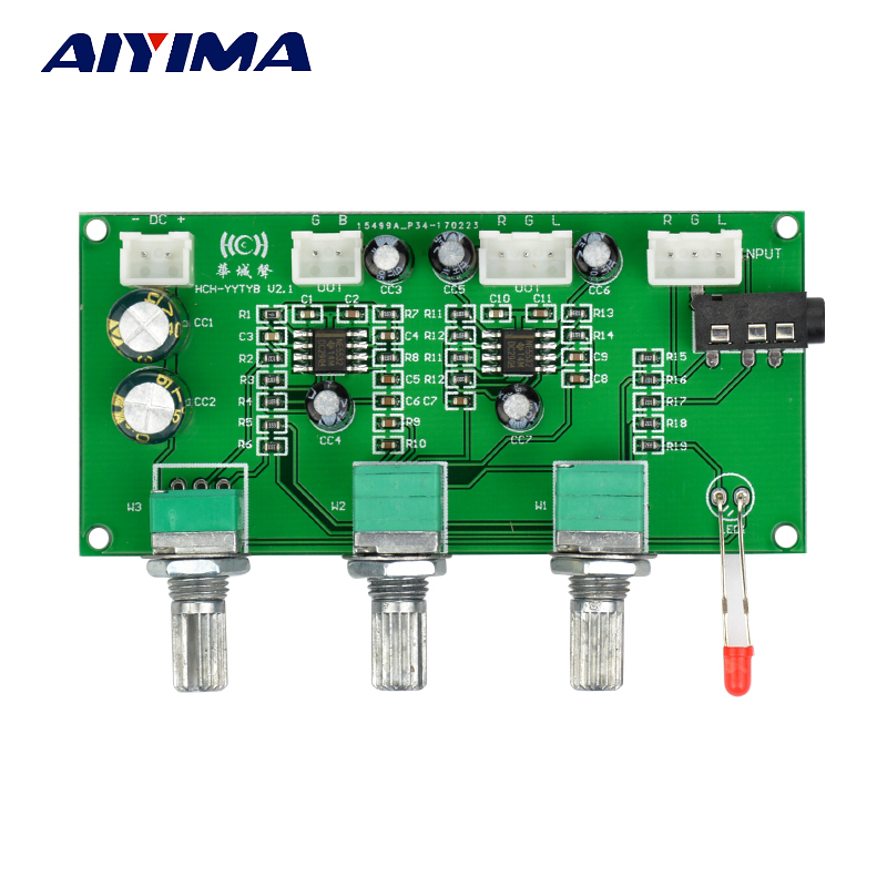 Aiyima NE5532 HIFI 2.1 Three Channel Tone Board Tweeter Bass Adjustment Volume Control 2.1-2.0 Tone Digital Amplifier DIY hot 3pcs steel chrome electric guitar bass tone volume speed control knobs dome top
