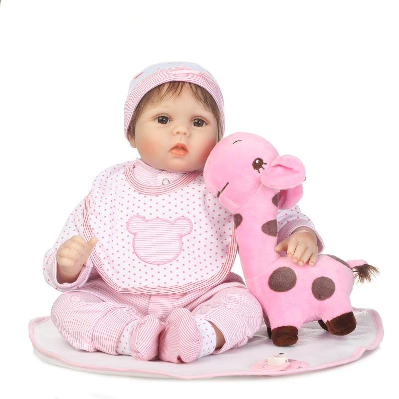 2017 New 22 Cotton Body Reborn Silicone Doll Reborn Baby Doll Can Not Bathe With Kids Baby Reborn Doll As Christmas Gift Toys new year merry christmas gift 18 american girl doll with clothes doll reborn silicone reborn baby doll our generation doll