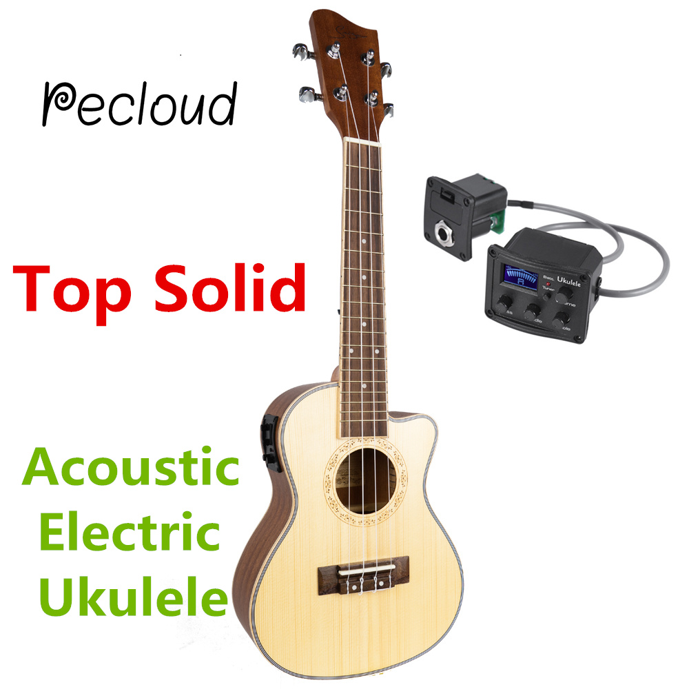 Cutaway Top Solid Acoustic Electric Concert Tenor Ukulele 23 26 Inch Mini Guitar 4 Strings Ukelele