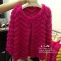 Nuevo lujo de punto real Rabbit Fur Coat natural mujeres piel de conejo auténtica moda de invierno chaleco plus size envío gratis