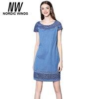 Nordic Winds Jeans Dress 2017 Summer Dresses Women Clothing Short Sleeve Patchwork O Neck Dress Plus