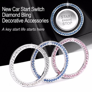 "40mm/1.57"" Auto Car Bling Decorative Accessories Automobiles Start Switch Button Decorative Diamond Rhinestone Ring Circle Trim(China)"