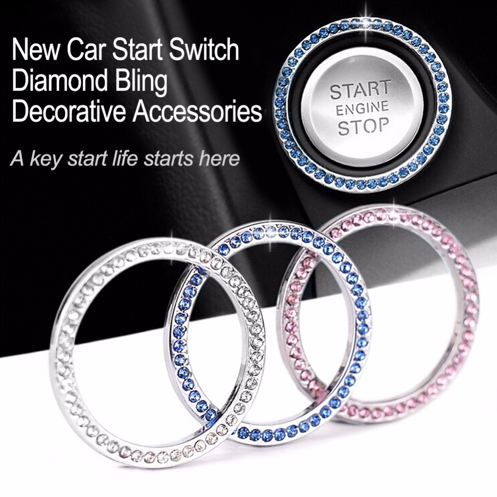 "40mm/1.57"" Auto Car Bling Decorative Accessories Automobiles Start Switch Button Decorative Diamond Rhinestone Ring Circle Trim"