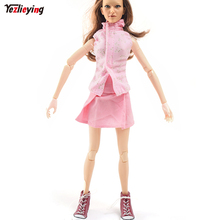 1/6 Pink Sleeveless Miniskirt Shirt Dress Suit +ZYTOYS Scale Doll High Sport sneakers Red Canvas slippers Hollow Set 12 Inch