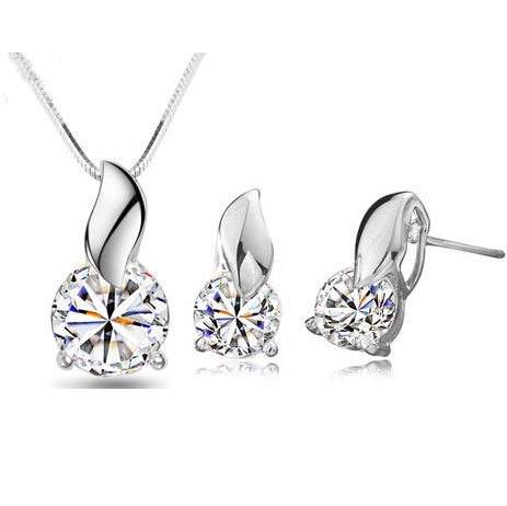 100 Silver 925 AAA Jewelry Sets for Women Leaf and Star sets Solid Silver Free Shipping