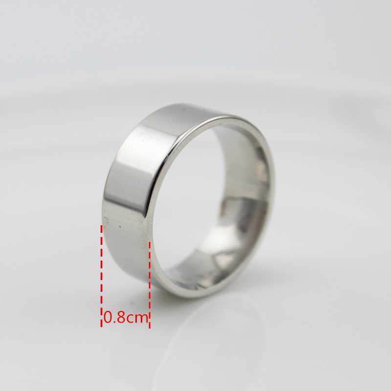 จัดส่งฟรีกว้าง 8 มิลลิเมตร 316L แหวนสแตนเลสจัดงานแต่งงานแหวนเครื่องประดับแหวนไทเทเนียมสตีลพังค์ขนาด 7 8 9 10 11