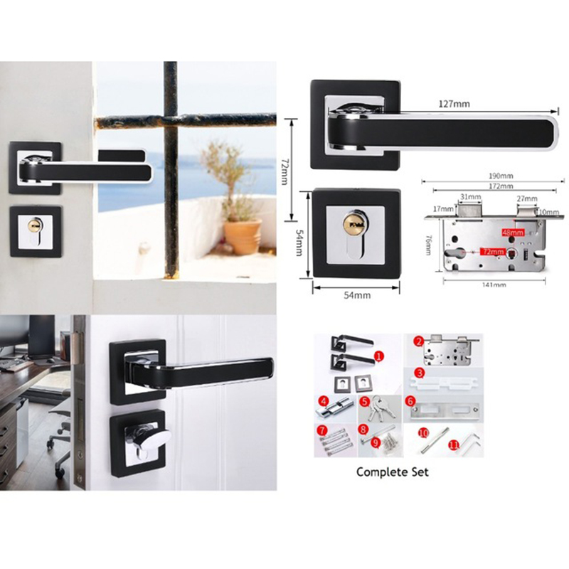 Interior Door Square Rosette Lock Set Ceramic Handle Locked Inside with Turn-Thumb Thumb turn Chrome BlackInterior Door Square Rosette Lock Set Ceramic Handle Locked Inside with Turn-Thumb Thumb turn Chrome Black