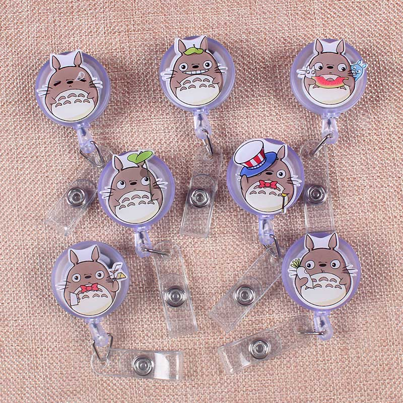 Cute Boy Plastic Retractable Creative Gray Cat Badge Reel Student Nurse Exhibition Enfermera Name Card Chest GirlBoy Card Holder