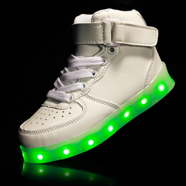 Factory Price Kids Boys Girls USB Charger Children Led Light Running Shoes High Top Luminous Sneakers Unisex Sportswear 25-37