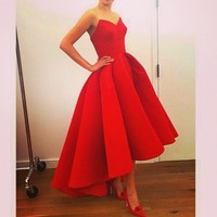 2017 Red High Low Short Prom Dresses Simple Satin Short Front Long Back Puffy Skirt Evening