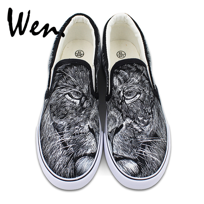 Wen Hand Painted Lion Shoes Canvas Slip on Flats Original Design King of Jungle Animal Sneakers Unisex Low Strapless wen original design colorful lamp bulb hand painted shoes black slip on canvas sneakers for man woman s gifts presents