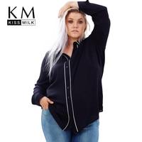 Kissmilk 2017 Big Size New Fashion Women Clothing Casual Solid OL Style Basic Blouse Tops Shirt Plus Size Blouse 4XL 5XL 6XL