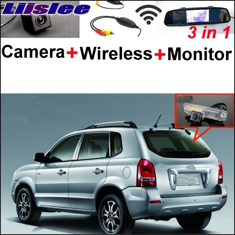 Liislee 3 in1 Special Rear View Camera + Wireless Receiver + Mirror Monitor DIY Parking System For Hyundai Tucson JM 2004-2010 wireless pager system 433 92mhz wireless restaurant table buzzer with monitor and watch receiver 3 display 42 call button