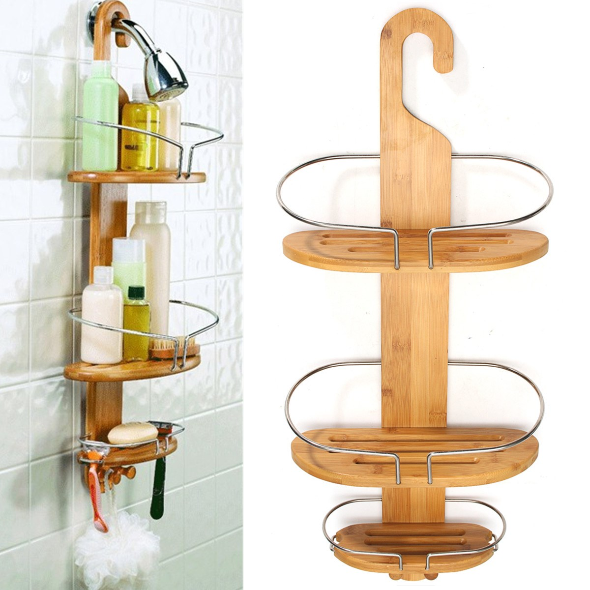Wall shelf holder shower organiser vintage loft industrial for Bathroom accessories stand