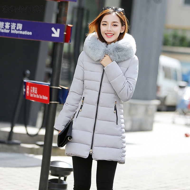 Parkas   Women Plus Size Trendy Simple Hooded Fur Collar Kawaii Womens Outwear Long Sleeve Students Lovely Ladies Overcoats Chic