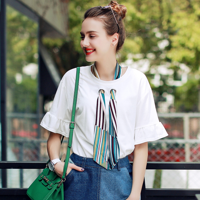 2017 New Fashion Women Casual T-Shirt Summer Short Sleeve O-Neck Shirt Loose Elegant Top Tees With Multicolor Scarf