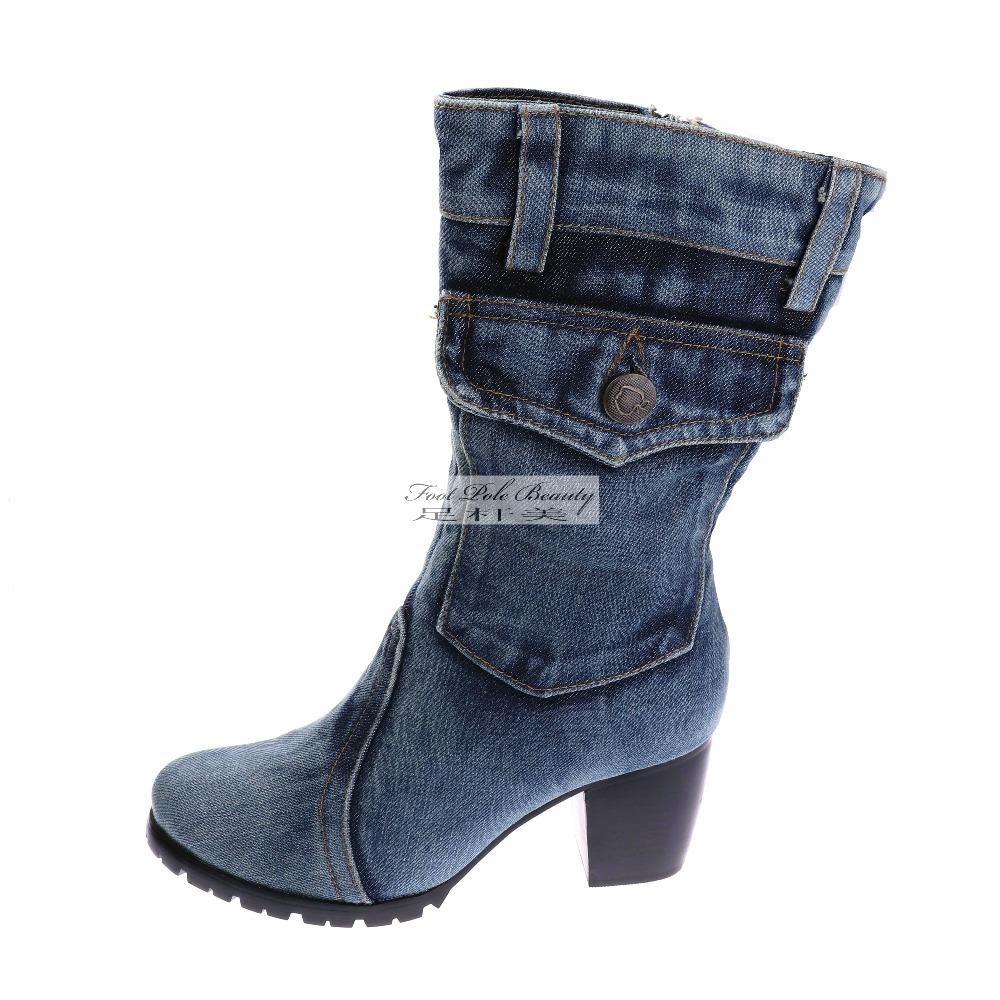 4985fd2632b Bleu Denim femmes Bottes d hiver nouvelle toile chaussures à talons hauts  antidérapant brut Bottes talons Boty Bottes femmes Plus taille américaine  10 ...