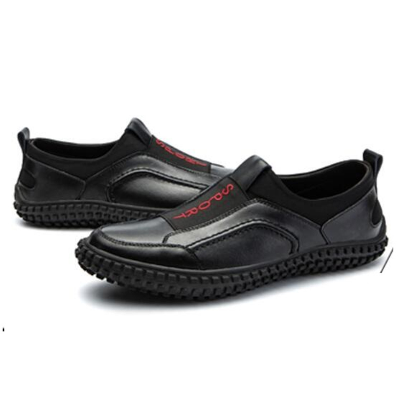 Macio Banda Homem Sneaker Baixa grade Confortável Couro Cabeça Rasa Dos 2 E Lazer Redonda Homens Gun Dirigindo Sapatos Alta 1 Primavera Outono Color Black De 4z4rqI6