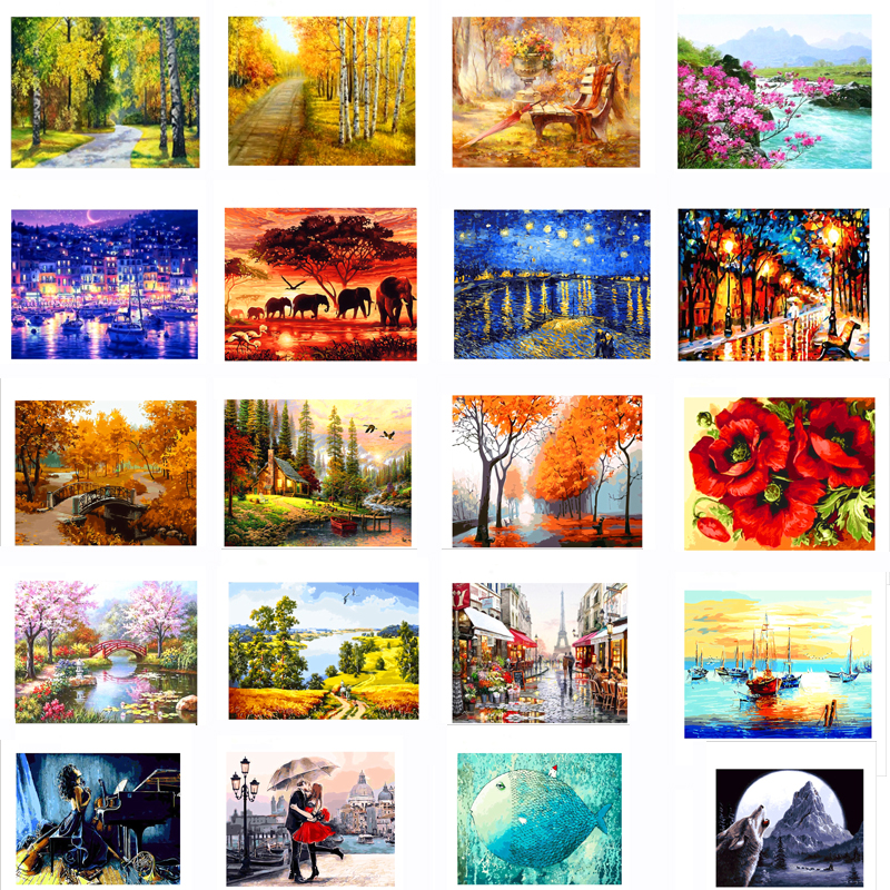 Frameless Oil Paint Painting By Numbers Diy Landscape Picture Drawing Coloring On Canvas Painting By Hand Wall Paint By Number