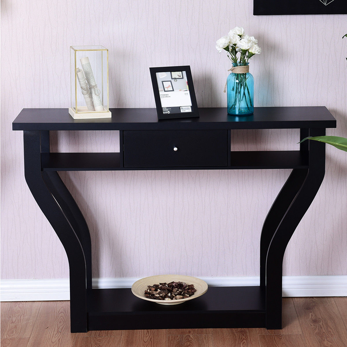 Giantex Accent Console Table Modern Sofa Entryway Hallway Wood Display Desk With Drawer Living Room Furniture HW60291