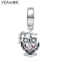 VEAMOR Fit Pandora Bracelets Animals CZ Owl Pendant Charms Beads Original 925 Sterling Silver Dangle Charm