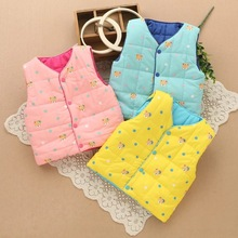 FHADST 2017 Newborn Eiderdown Cotton Waistcoat Boys Grils Winter Vest Hooded Baby Kids Casual Clothes Fashion Candy Color