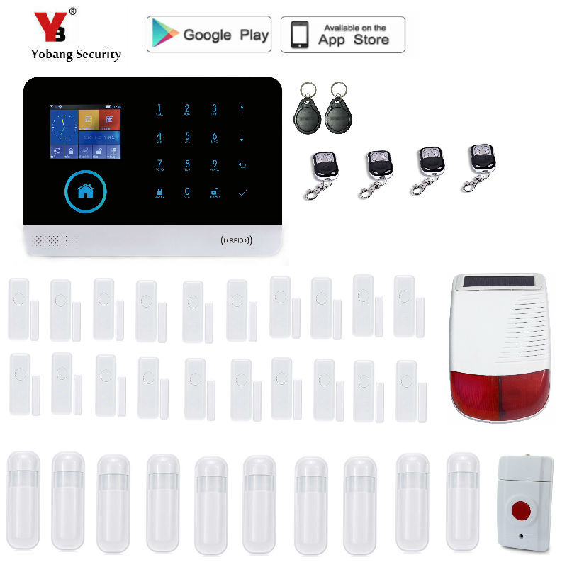 Yobang Security  Wireless GSM&WIFI Smart Home Security Alarm Systems Kits Wireless Outdoor solar Siren with APP Control yobang security rfid gsm gprs alarm systems outdoor solar siren wifi sms wireless alarme kits metal remote control motion alarm