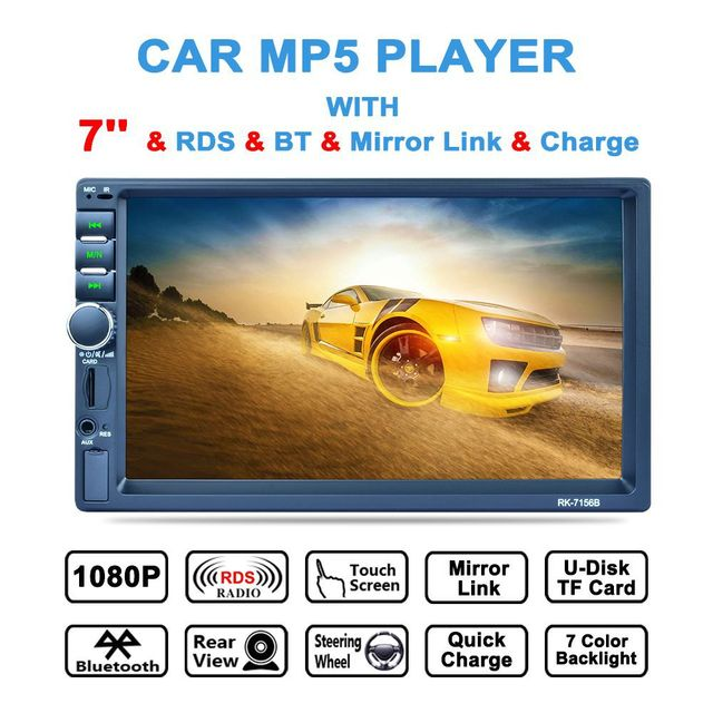 """7"""" Touch Screen 2Din Car Multimedia Player RDS FM Radio Auto MP5 Player Mirror Link BT Rearview Steering Wheel 7 Color Backlight"""