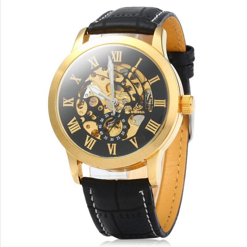 Herren uhr Automatische Mechanische Uhren SHENHUA marke mode gold Römischen Ziffern Uhr business lederband uhr 332