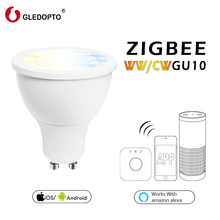 GLEDOPTO  5W WW/CW DIMMER LED ZIGBEE GU10 spotlight AC100-240V zll standard agreement smart app compatibility amazon echo plus