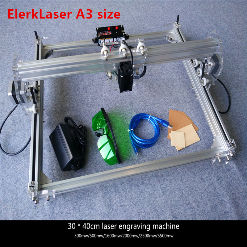 EleksLaser diy mini A3 Laser Engraving Machine Work Area 30X40cm Laser Engraver For Cutting Machine Benbox Software 7 language