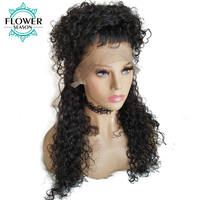 FlowerSeason Pre Plucked Curly 5*4.5 Silk Base Full lace Human Hair Wigs Bleached knots 130%density Malaysian Remy hair