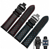 20mm 22mm Men Women Real Cowhide Leather Handmade Black Red Blue Replacement Wrist Watch Band Strap