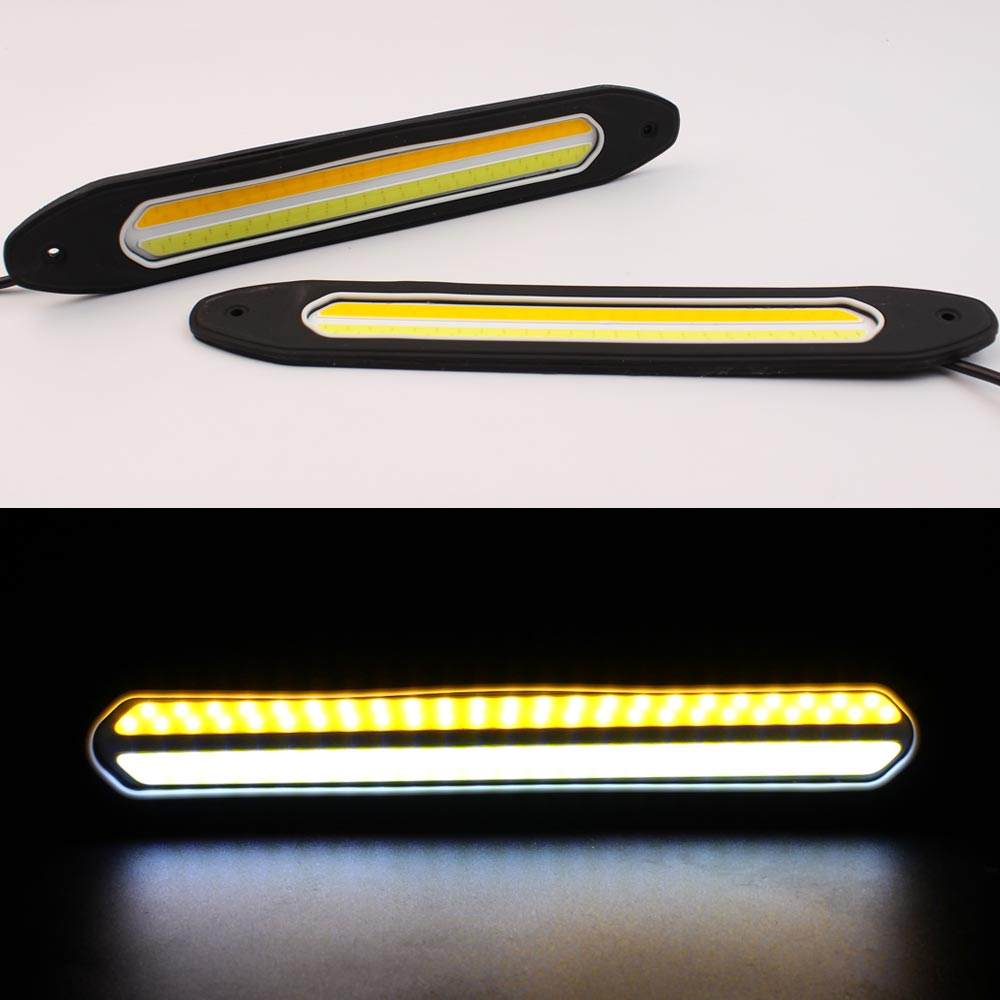 LED DRL Flexible Daytime Running Light Waterproof Universal COB DRL Kit White Day Light Yellow Fog Light Driving Day Light 12v