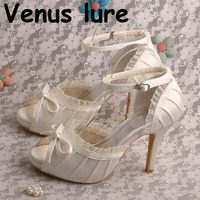 076d978132 22 Colors Ladies Dress Sandals For Weddings Marfil Satin High Heel Shoes