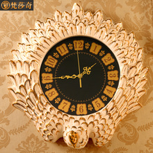 Vasach European luxury luxury large living room wall clock clock mute retro ceramic peacock quartz watch new