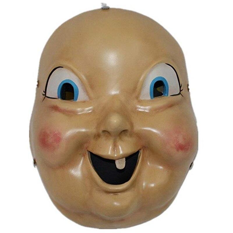 Nuovo Felice Giorno di Morte Cosplay Mask Creepy Baby Doll Mascherina In Resina Hallween Horror Cosplay Full Oggetti di Scena Viso Maschera Accessori