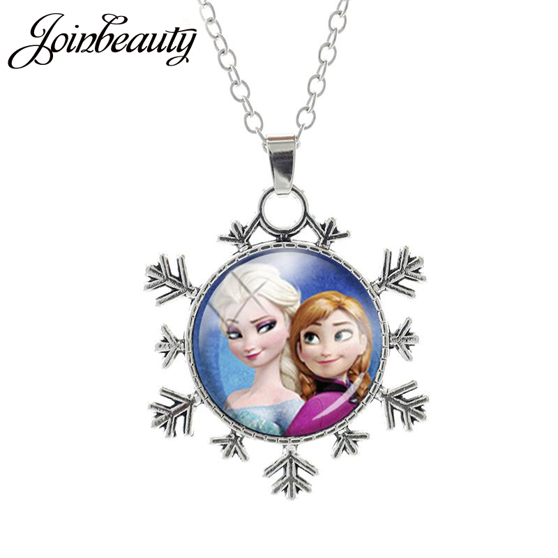 JOINBEAUTY Cartoon Movie Snowflake Necklace Princess Anna Elsa Girl Glass Pendant Choker Bijoux Summer Jewelry Accessories ES89