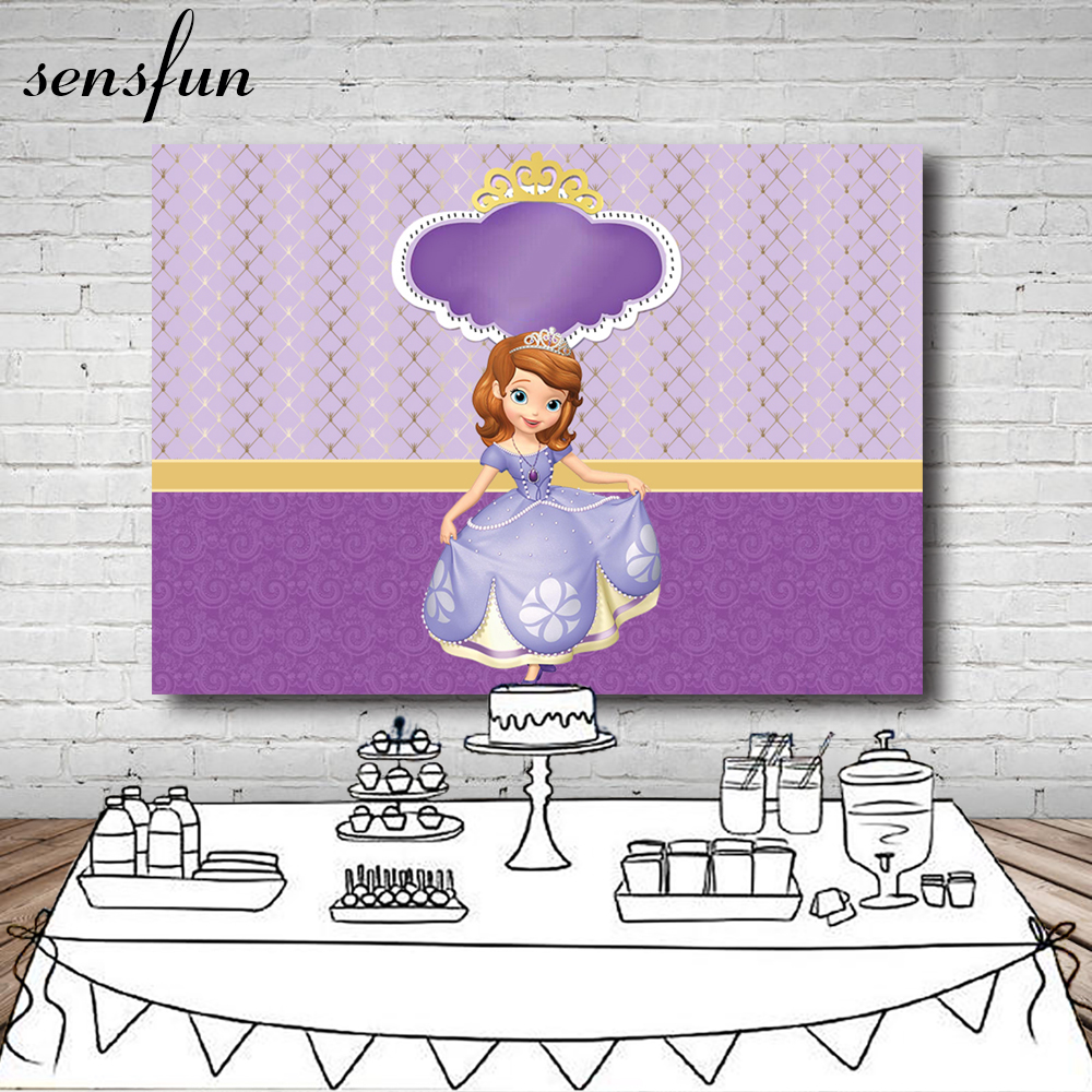 Sensfun Purple Theme Princess Photography Backdrop For Little Girls Custom Text Birthday ...