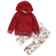 2pcs!!Lovely Baby Girls Kids Warm Long Sleeve Hooded Floral Sweatshirt Tops+Floral Pants 2pcs Outfits Tracksuit