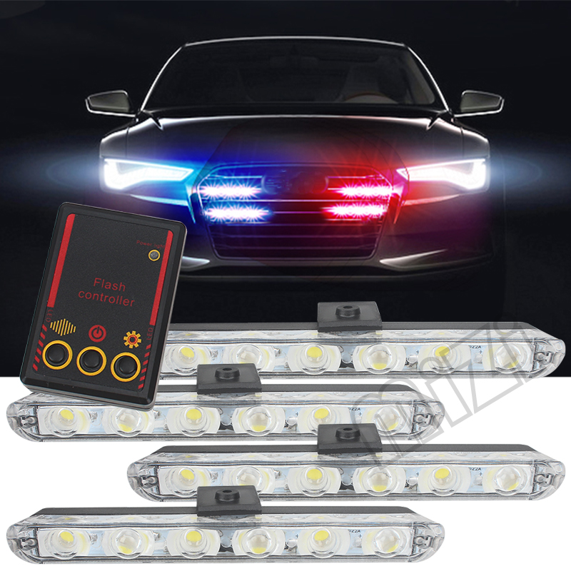 Car Truck Emergency Light Flashing 4*6 Led Ambulance Police Light Strobe Warning Light Firemen Lights DC 12V Car-Styling 1set 240 led car roof flashing strobe emergency light dc 12v 20w truck police fireman warning lights blue