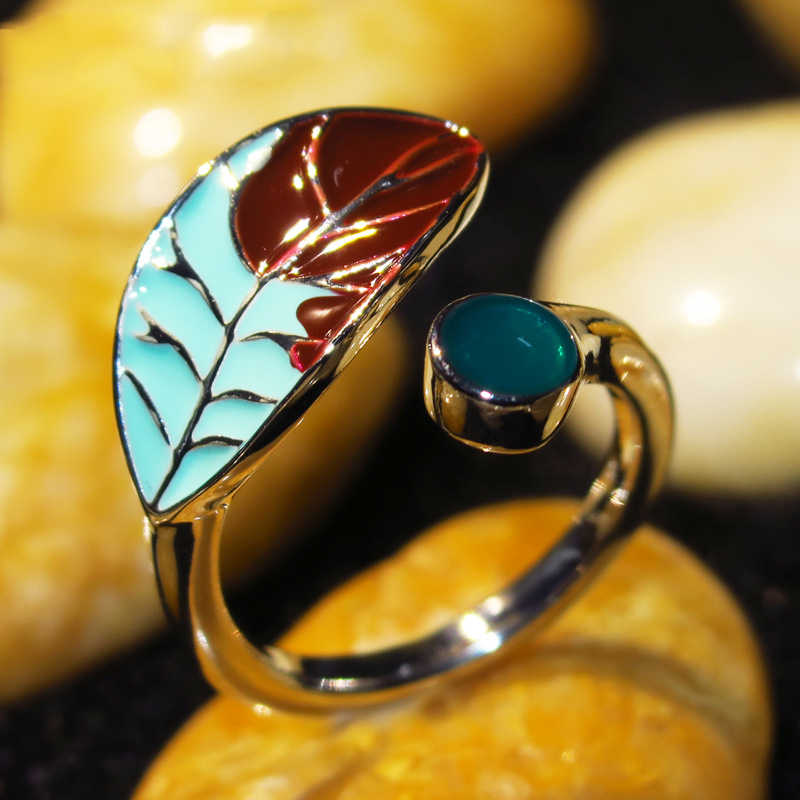 אופנה גדול ירוק חום עלה טבעות לנשים בציר עתיק זהב חלול עלה נוצת מתכוונן טבעת בוהמי תכשיטי O5J734