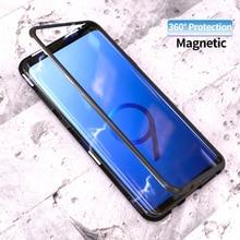 Для samsung Galaxy S8 плюс S9 S9 + металл Магнитный чехол закаленного Стекло назад магнит рамка для samsung примечание 8 9 S7 край
