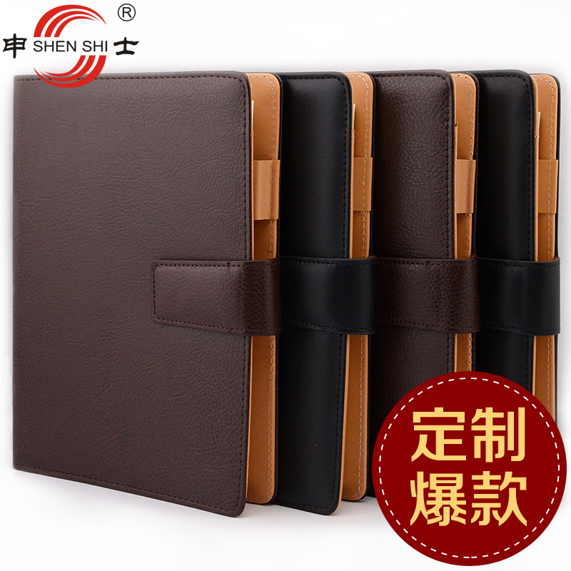 stationery 26 series of high-grade leather belt buckle loose leaf notebook for office business notepad B5/A5 teacher notepad factory sale good quality writing pads 148 210mm notepad business a5 office stationery high end book with loose leaf notebook