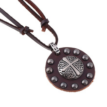 2017 New Fashion Design Vintage Silver Cross Necklace Long Chain Leather Cord Necklace Christian Jesus Men Women Jewelry Hot